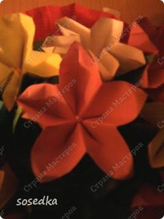 Эту корзину мы делали всей семьей в сад, на конкурс оригами. Вернее мы делали цветы, а корзина покупная обтянутая гофрированной бумагой))) фото 2