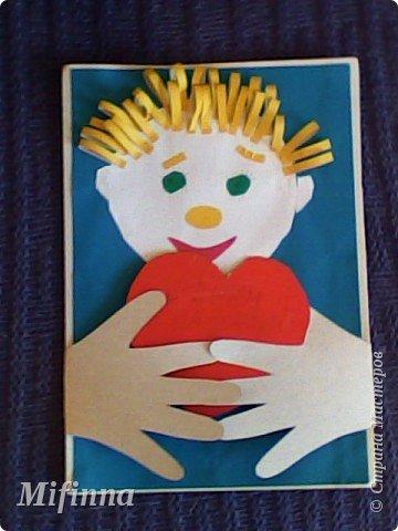 Вот такую открыточку с младшим сыном для старшего братишки сотворили. Ручки открываются, на сердечке пожелания для дорогого братика своей маленькой детской ручкой. фото 1