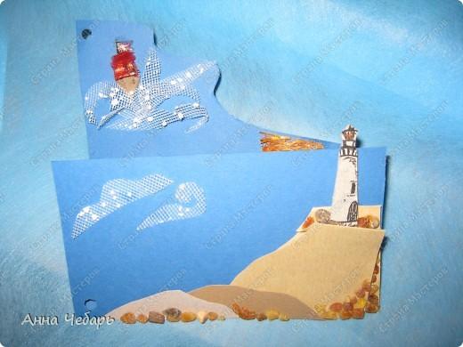 """Дарим учительнице литературы билеты в РАМТ на """"Алые паруса"""". Решила сделать тематический конвертик-открытку. Умом понимаю, что это просто упаковка и что учительнице мои изыски ни за чем не нужны... Но остановиться просто не могу :) Одинокий маяк... фото 2"""