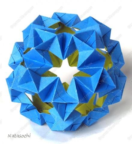 Автор: Christinу Edison, Модель:  Waterbomb  Из квадратов 6,5 х 6,5 см.  В готовом виде в диаметре получился примерно 12 см. фото 1