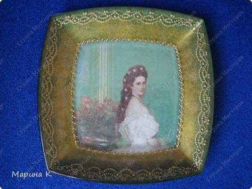Салфетка, контуры, акриловая краска (золото, зелень, серебро) Обратный декупаж фото 1