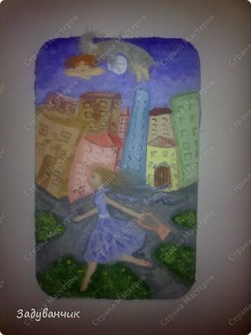 Панно. Утренний город, ангел над городом и девушка  фото 3