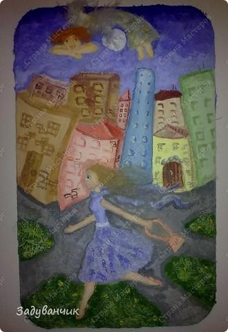 Панно. Утренний город, ангел над городом и девушка  фото 1