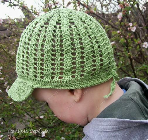 Описание этой  летней шапочки нашла в Интернете и  вязала по МК, только сделала 2 рюши ( в образце было 3).   фото 10