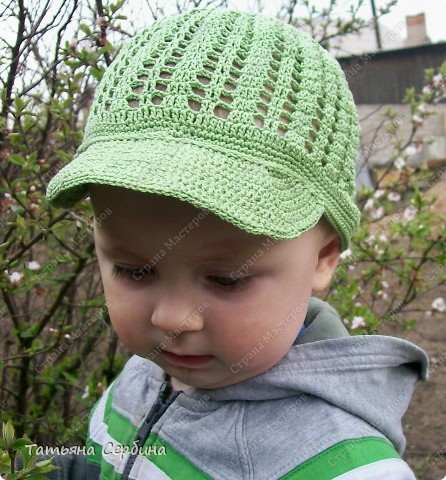 Описание этой  летней шапочки нашла в Интернете и  вязала по МК, только сделала 2 рюши ( в образце было 3).   фото 9