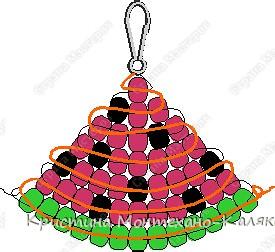 схема взята здесь: http://blot.ru/forum/index.php?showtopic=8899 Для плетения этой схемы нам понадобится: 13 зеленых  29 красных 8 черных бисеринок  Продеваем нить как показано на схеме плетения, и в конце завязываем двойной узел.   Кто не понимает пишите помогу. фото 1