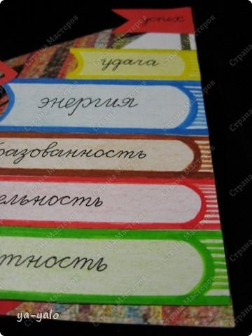 """Еще одна открытка к Последнему звонку с силуэтом, вырезанным и любезно предоставленным мне Людой (Likmiass). Наш творческий тандэм продолжает свой путь!! Теперь моя любимая стойка-уголок представилась мне лестницей - лестницей успеха Итак, открытка № 8 """"Дерзай!"""" -это её девиз (может, не очень удачный, больше ничего подходящего не нашла)) Осталось 7! фото 12"""