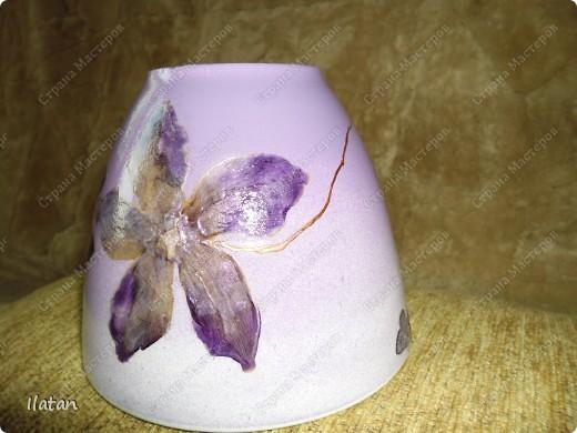 Горшочек под орхидею, заДЕКУПАЖЕН сухими цветами цикламена фото 3