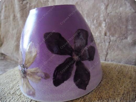 Горшочек под орхидею, заДЕКУПАЖЕН сухими цветами цикламена фото 7