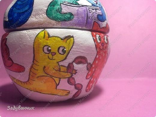 Шкатулка из солёного теста. Коты))  фото 16
