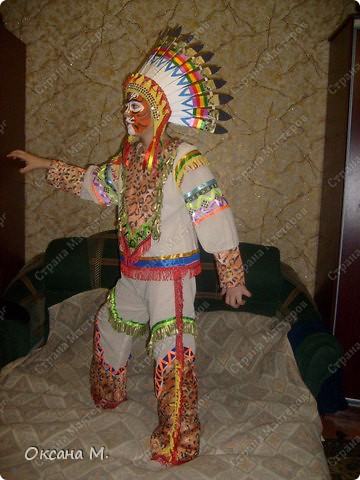 """""""Индеец племени тигров"""",костюм придумала в год тигра, совместив два образа. Использовала ткань с тигриной расцветкой, на лице грим. фото 2"""