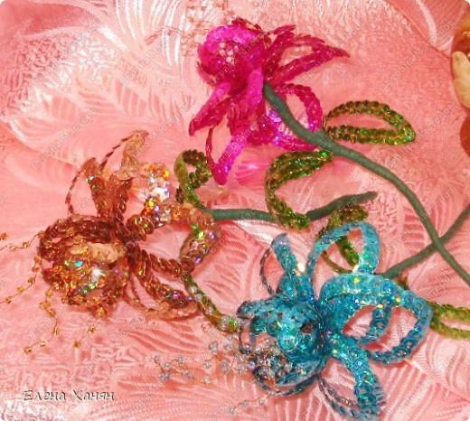 Первые цветы из пайеток фото 2