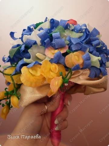 Доброго времени суток всем мастерицам!  Попробовала сделать букет невесты-конечно получилось не реалистично, но все же.... фото 4