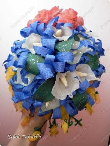 Доброго времени суток всем мастерицам!  Попробовала сделать букет невесты-конечно получилось не реалистично, но все же.... фото 3