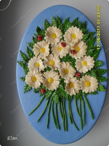 маки и ромашки соленое тесто,панно из гипса фото 6