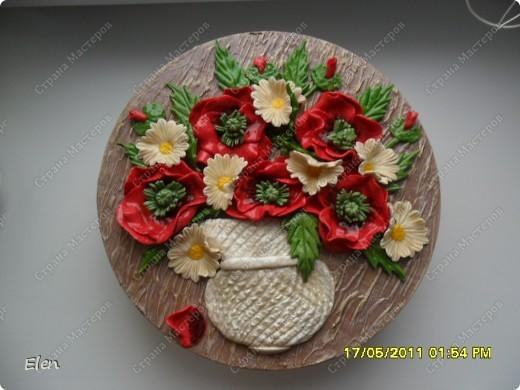 маки и ромашки соленое тесто,панно из гипса фото 1