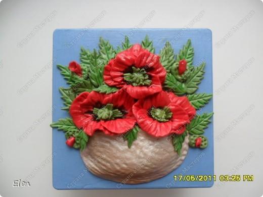 маки и ромашки соленое тесто,панно из гипса фото 3