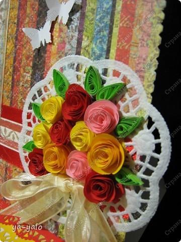 Это моя первая свадебная открытка))) Сделана на заказ, это я к тому говорю, чтобы вы не подумали, что такое прекрасное событие постигло кого-то из моих близких)) фото 15