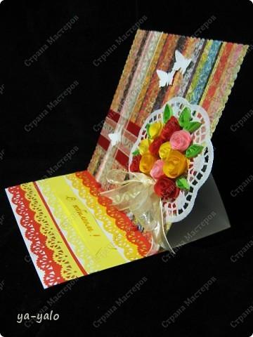 Это моя первая свадебная открытка))) Сделана на заказ, это я к тому говорю, чтобы вы не подумали, что такое прекрасное событие постигло кого-то из моих близких)) фото 12
