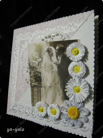 Это моя первая свадебная открытка))) Сделана на заказ, это я к тому говорю, чтобы вы не подумали, что такое прекрасное событие постигло кого-то из моих близких)) фото 5