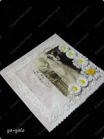 Это моя первая свадебная открытка))) Сделана на заказ, это я к тому говорю, чтобы вы не подумали, что такое прекрасное событие постигло кого-то из моих близких)) фото 6
