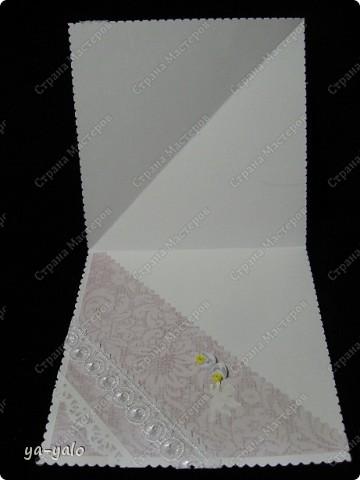 Это моя первая свадебная открытка))) Сделана на заказ, это я к тому говорю, чтобы вы не подумали, что такое прекрасное событие постигло кого-то из моих близких)) фото 4