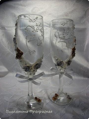 Наконецто я сделала бокалы с парой!! Не судите строго. Большущее спасибо моему вдохновителю Олесе ф фото 1