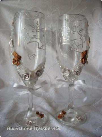 Наконецто я сделала бокалы с парой!! Не судите строго. Большущее спасибо моему вдохновителю Олесе ф фото 2