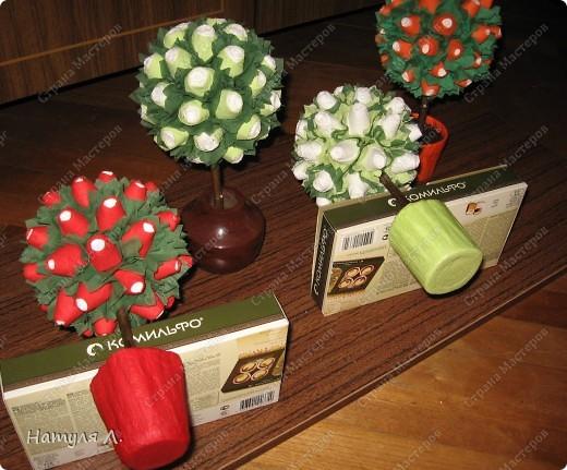 Девочки, хочу немного рассказать и показать как я делаю такие деревья.  По бутонам роз смотрите здесь  http://stranamasterov.ru/node/192686   фото 27