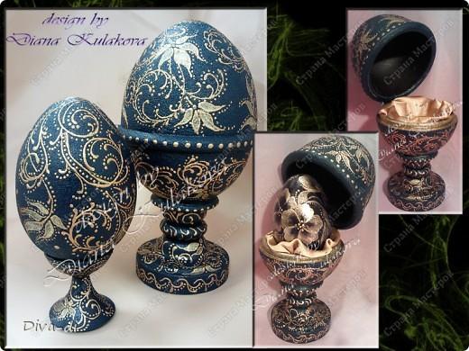 Яйцо Фаберже - цвет изумрудный с золотыми вензелями фото 3