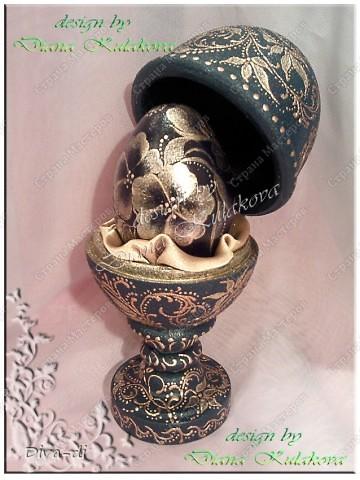 Яйцо Фаберже - цвет изумрудный с золотыми вензелями фото 1