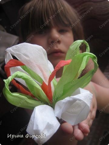 Сегодня вечером Ася приехала с турслёта, и привезла цветы!!!Мне они очень понравились. Я спросила Асю, помнит ли она, как делаются цветы, и Ася без промедления стала мне показывать. Так родился Мастер - класс от Асюши. фото 1