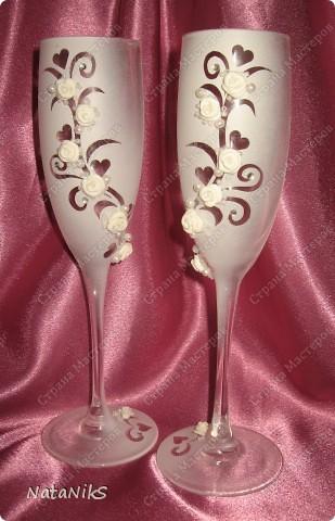 Свадебные бокалы. Мои работы! фото 10