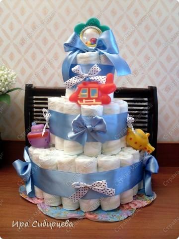 Скоро у моих друзей родится сыночек!!! Решила им сделать такой подарочек!:))) Ушло 56 подгузников. фото 2