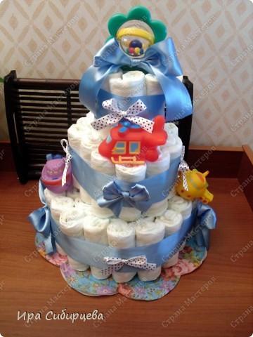Скоро у моих друзей родится сыночек!!! Решила им сделать такой подарочек!:))) Ушло 56 подгузников. фото 3