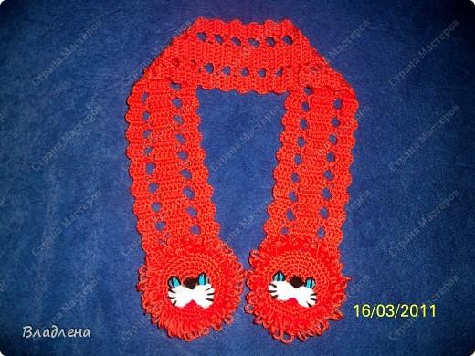 Вот такой шарфик вязался (в технике брюггское кружево) для доченьки зимой.  фото 1