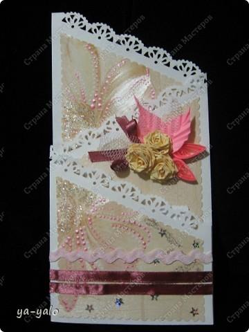 Открытку похожей формы видела у Марины (МАРСАМ) http://stranamasterov.ru/node/205150#comment-1821459 Очень розовая она у меня получилась))))) и очень смахивает на ширмочку  фото 4
