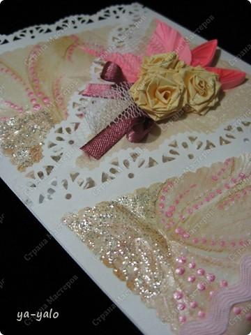 Открытку похожей формы видела у Марины (МАРСАМ) http://stranamasterov.ru/node/205150#comment-1821459 Очень розовая она у меня получилась))))) и очень смахивает на ширмочку  фото 8