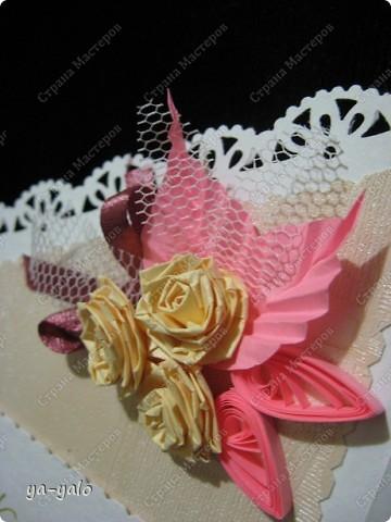 Открытку похожей формы видела у Марины (МАРСАМ) http://stranamasterov.ru/node/205150#comment-1821459 Очень розовая она у меня получилась))))) и очень смахивает на ширмочку  фото 3
