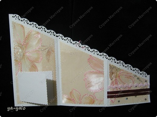 Открытку похожей формы видела у Марины (МАРСАМ) http://stranamasterov.ru/node/205150#comment-1821459 Очень розовая она у меня получилась))))) и очень смахивает на ширмочку  фото 7