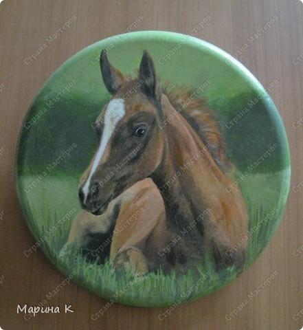 Гипсовое панно круглой формы, акриловый грунт, салфетка, акриловые краски, акриловый глянцевый лак фото 2