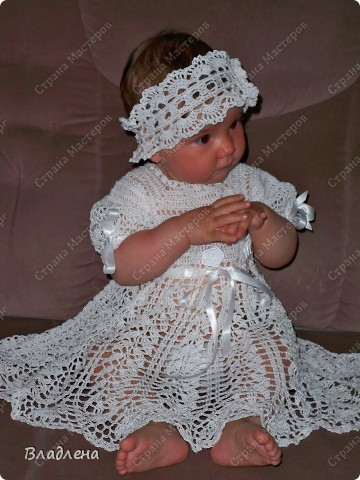 Вот такое платьишко связалось на важное событие в жизни дочурки. На ее крещение. фото 4