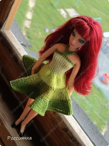 """Сарафан для куклы """"Все оттенки зеленого"""". фото 1"""