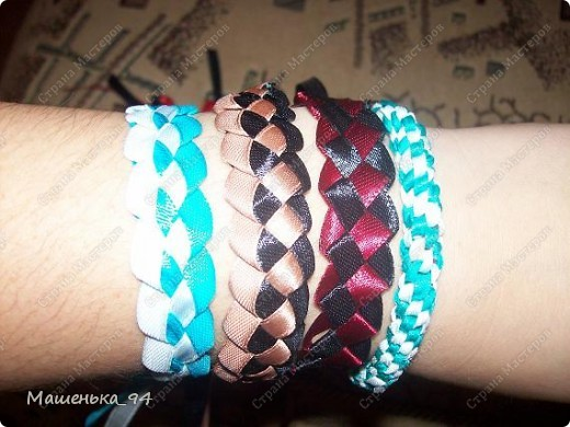 Фенечки и браслеты из атласных лент! фото 8
