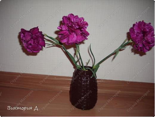 Маленькая вазочка. Обплела баночку.  фото 1