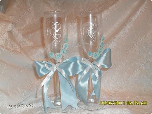 Вот такой набор  в голубом цвете мне заказали на свадьбу. Цвет выбран под платье невесты. фото 5