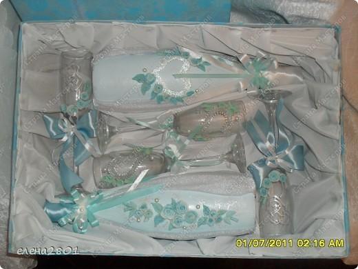 Вот такой набор  в голубом цвете мне заказали на свадьбу. Цвет выбран под платье невесты. фото 6