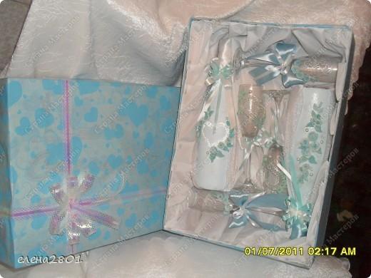 Вот такой набор  в голубом цвете мне заказали на свадьбу. Цвет выбран под платье невесты. фото 7