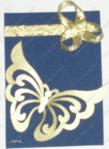 Все вместе. Бабочки вырезаны и покрыты золотой краской. Фон - темно-синяя бархатная бумага. фото 4