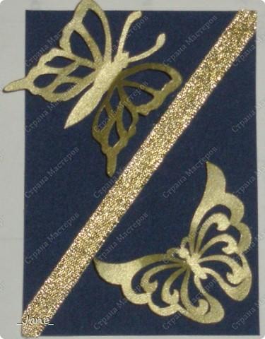 Все вместе. Бабочки вырезаны и покрыты золотой краской. Фон - темно-синяя бархатная бумага. фото 5